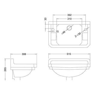 Burlington Edwardian Rectangular Cloakroom Basin, 515mm Wide, 2 Tap Hole