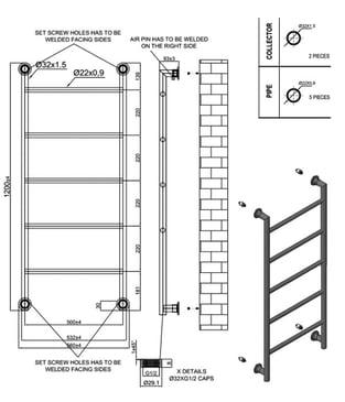 Heatwave Ballymore Designer Heated Towel Rail 1200mm H x 560mm W - Chrome