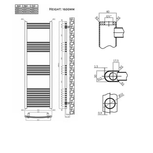 Heatwave Hamilton Straight Heated Towel Rail 1600mm H x 400mm W - Chrome