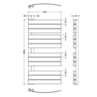 Heatwave Designer Heated Towel Rail 1080mm H x 550mm W - Anthracite