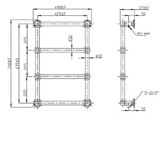 Hudson Reed Epsom Heated Towel Rail 750mm H x 475mm W Chrome