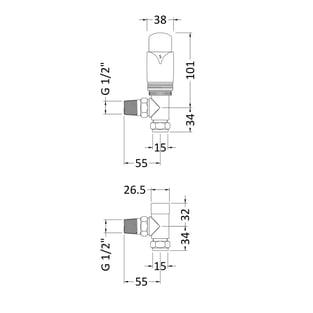Hudson Reed Luxury Angled Thermostatic Radiator Valves Pair - Chrome