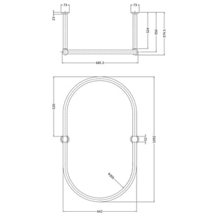 Hudson Reed Traditional Oval Shower Curtain Rail 1092mm x 686mm - Chrome