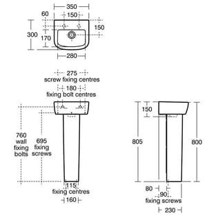 Ideal Standard Tempo Handrinse Washbasin 350mm Wide 2 Tap Holes