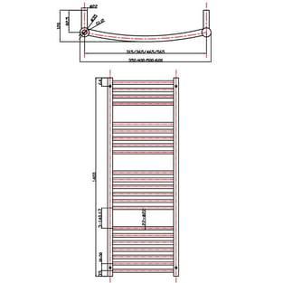 MaxHeat Camborne Curved Towel Rail, 1400mm High x 500mm Wide, Chrome