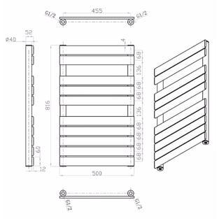 MaxHeat Deshima Vertical Towel Rail, 816mm High x 500mm Wide, White