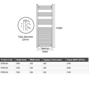 MaxHeat MaxRail Straight Heated Towel Rail 1000mm H x 500mm W - Anthracite