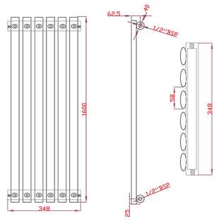 MaxHeat Saltash Single Vertical Radiator, 1600mm High x 348mm Wide, Black