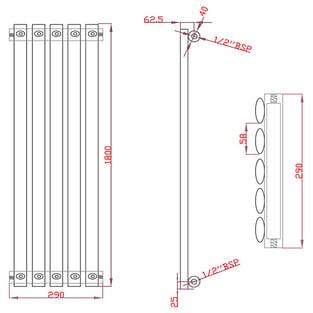 MaxHeat Saltash Single Vertical Radiator, 1800mm High x 290mm Wide, Black