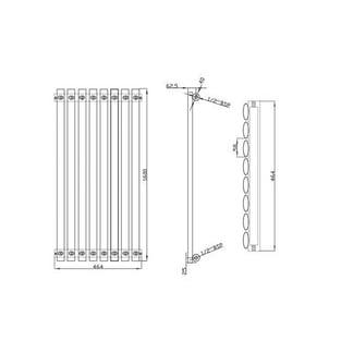 MaxHeat Saltash Single Designer Vertical Radiator 1600mm H x 464mm W White