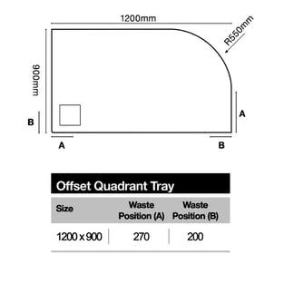 Merlyn TrueStone Offset Quadrant Shower Tray with Waste 1200mm x 900mm Right Handed - Slate Black