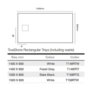 Merlyn TrueStone Rectangular Shower Tray with Waste 1500mm x 800mm - White