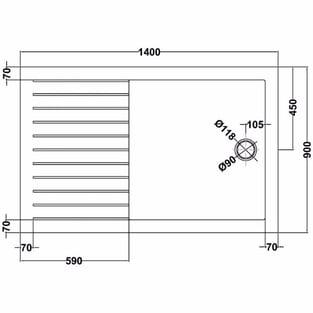 Premier Rectangular Walk-In Shower Tray 1400mm x 900mm Acrylic