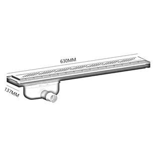 Purus Living Linear Side Wet Floor Drain, 600mm Wide, Stainless Steel Twist Grate