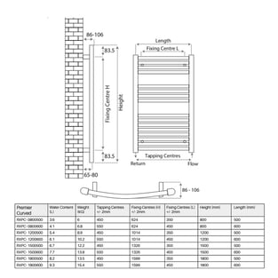 Radox Premier Curved Heated Towel Rail 1800mm H x 600mm W - Chrome