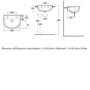 RAK Compact Semi Recessed Basin 450mm Wide - 2 Tap Hole