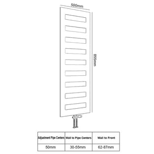 Reina Fondi Designer Heated Towel Rail 855mm H x 500mm W White