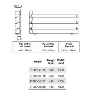 TRC BDO Step Heated Towel Rail 430mm H x 1800mm W - Chrome