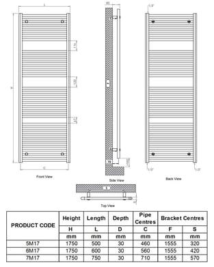 Ultraheat Chelmsford Straight Heated Towel Rail 1750mm H x 600mm W - White