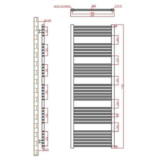 Verona Flat Designer Heated Towel Rail 1700mm H x 600mm W Chrome
