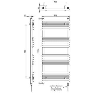 Vogue Tune Heated Towel Rail 1186mm H x 500mm W Dual Fuel