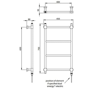 Vogue Venture Traditional Heated Towel Rail 750mm H x 450mm W Electric