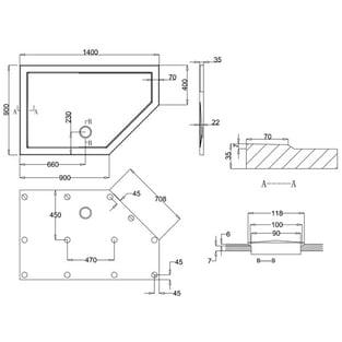 Zamori 35 Low Profile Pentangle Shower Tray 1400mm x 900mm - Right Hand