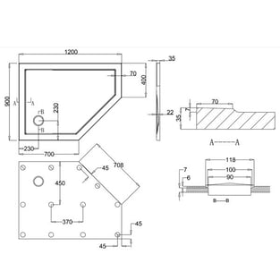 Zamori 35 Low Profile Pentangle Shower Tray 1200mm x 900mm - Right Hand