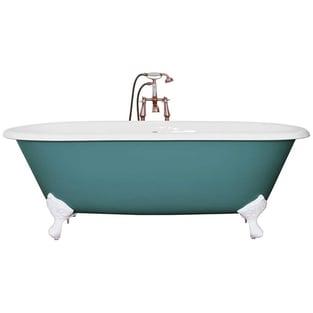 Jig Bisley Cast Iron Roll Top Bath including Chrome Feet - 0 Tap Hole