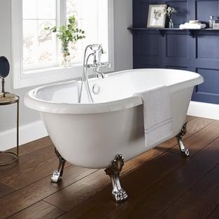 Prestige Astley Traditional Roll Top Freestanding Bath 1500mm x 800mm - Acrylic