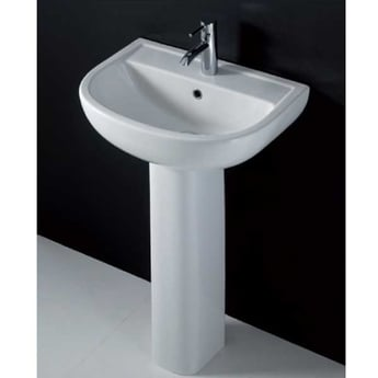 AKW Compact Basin with Full Pedestal 460mm Wide - 1 Tap Hole