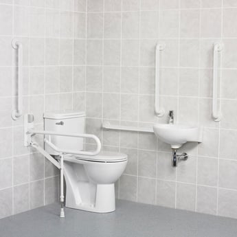 AKW Standard Doc M Pack with Close Coupled Disabled Toilet - White