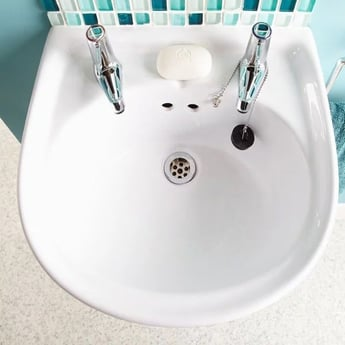 AKW Compact Semi Pedestal 450mm Wide Disabled Basin - 2 Tap Hole