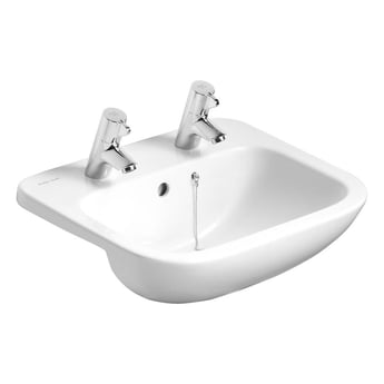 Armitage Shanks Profile 21 Semi Countertop Basin with Overflow 500mm Wide - 2 Tap Hole