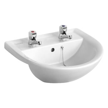 Armitage Shanks Sandringham 21 Semi-Recessed Basin 500mm Wide with Chain Hole - 2TH