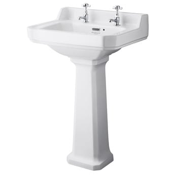 Bayswater Fitzroy Basin with Large Full Pedestal 560mm Wide 2 Tap Hole