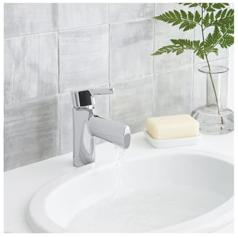 Bristan Flute Basin Mixer Tap Deck Mounted with Clicker Waste - Chrome