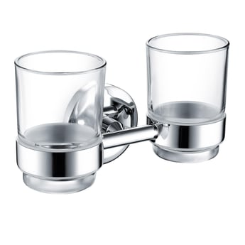 Bristan Solo Double Tumbler & Brass Holder, Chrome Plated