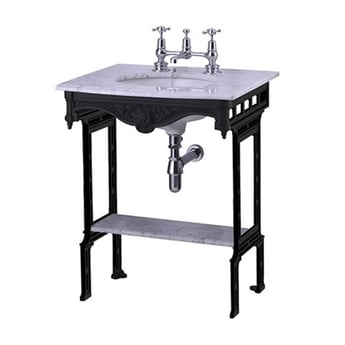 Burlington Georgian Marble Basin with Black Wash Stand and Shelf, 650mm Wide, 1 Tap Hole