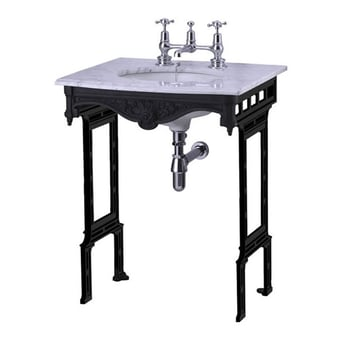 Burlington Georgian Marble Basin with Black Wash Stand, 650mm Wide, 1 Tap Hole