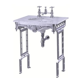 Burlington Georgian Marble Basin with Aluminium Wash Stand, 650mm Wide, 2 Tap Hole
