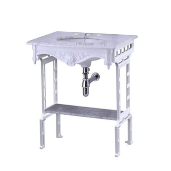 Burlington Georgian Marble Basin with White Wash Stand and Shelf, 650mm Wide, 3 Tap Hole
