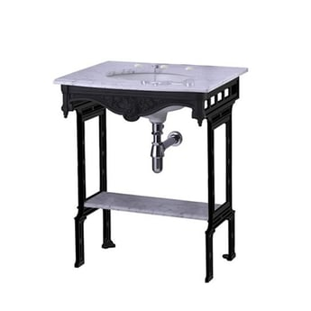 Burlington Georgian Marble Basin with Black Wash Stand and Shelf, 650mm Wide, 3 Tap Hole