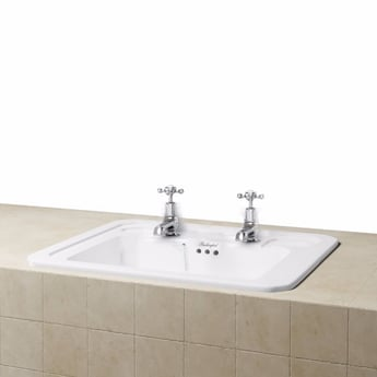 Burlington Victorian Inset Counter Top Basin, 540mm Wide, 2 Tap Hole
