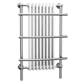 Cali Traditional Wall Hung Heated Radiator Towel Rail - 1000mm High x 630mm Wide - Chrome/White