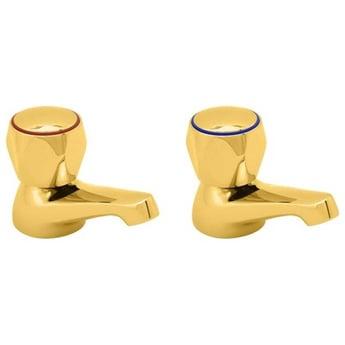 Deva Profile Modern Basin Taps Pair - Gold