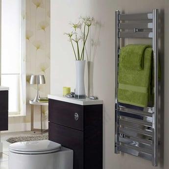 Duchy Capricorn Designer Towel Rail with Flat Bars 720mm H x 500mm W - Chrome