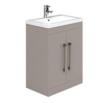 Duchy Nevada 2-Door Floor Standing Vanity Unit with Basin 600mm Wide Cashmere 1 Tap Hole
