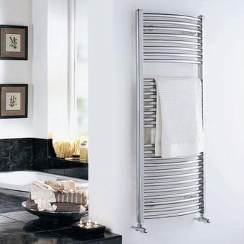 Duchy Standard Curved Towel Rail 1110mm H X 600mm W - Chrome