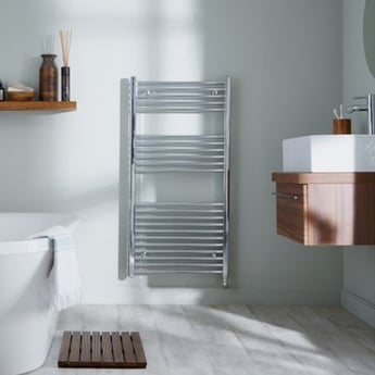 Heatwave Richmond Thermostatic Electric Straight Towel Rail 691mm H x 600mm W - Chrome